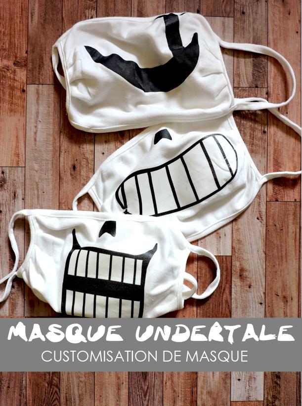 Undertale, masque, virus, tissus, deltarune, visage, sans, gaster, papyrus, cosplay, corona, covid, protection, DIY, custom, customisation,